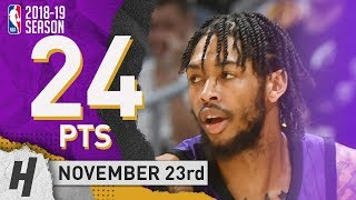 Brandon Ingram Full Highlights Lakers vs Jazz 2018.11.23 - 24 Pts, 6 Rebounds!