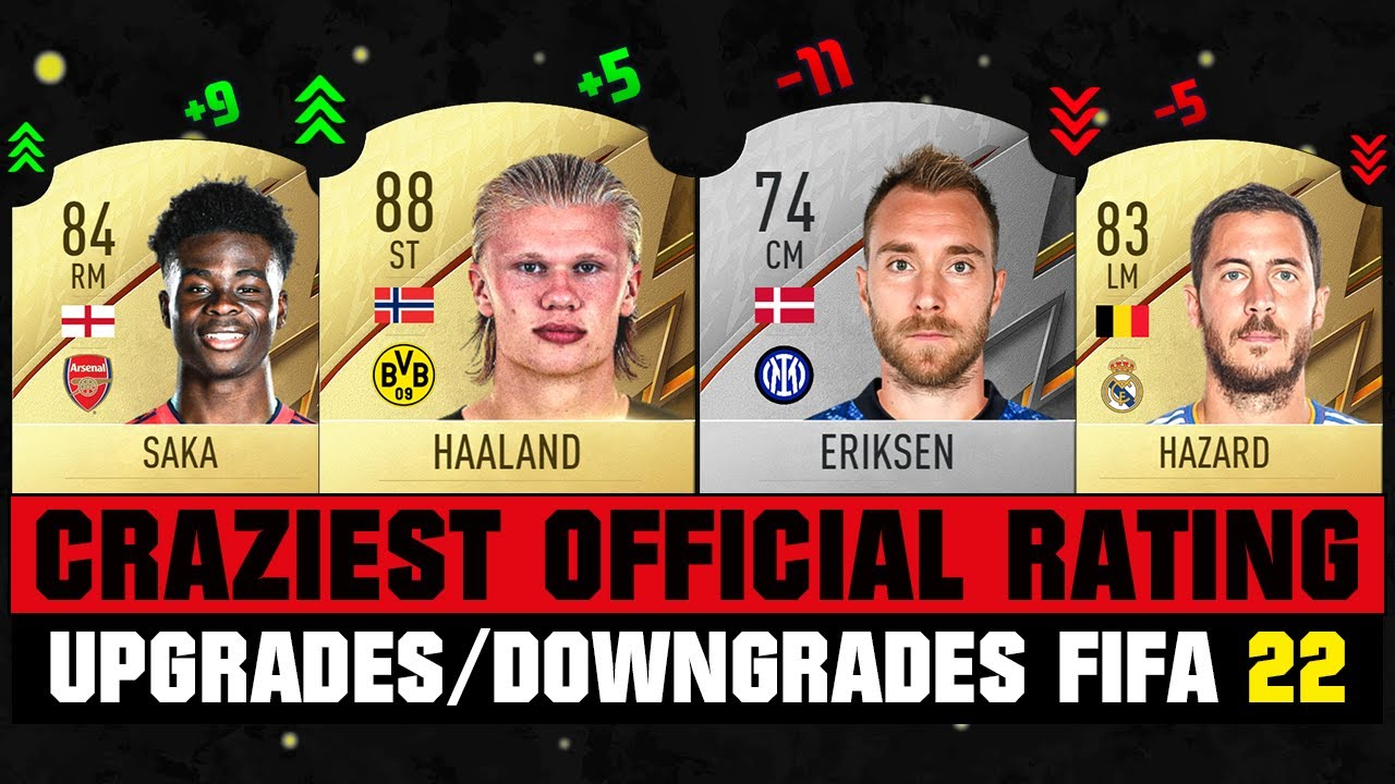 FIFA 22   CRAZIEST RATING UPGRADES/DOWNGRADES! 😵😱 ft. Haaland, Eriksen, Hazard, Saka... etc