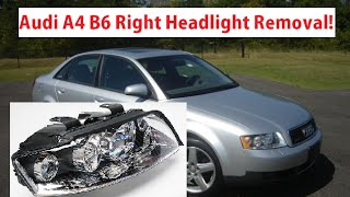 Audi A4 B6 Right Passenger Headlight Removal / Replacement. Headlight Bulb Replacement