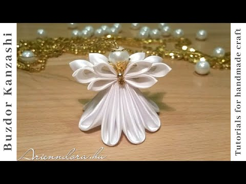 DIY Kanzashi angyal 02 / Christmas Kanzashi angel / satin ribbon angel / Karácsonyfa dísz készítése