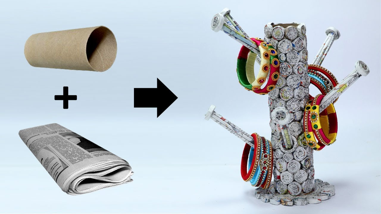How to make bangle stand with newspaper best out of for Wealth out of waste craft ideas