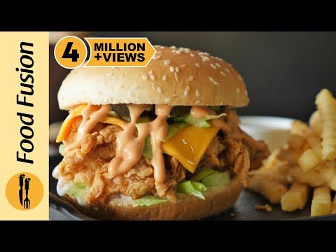 Spicy Crispy Chicken Burger Recipe By Food Fusion