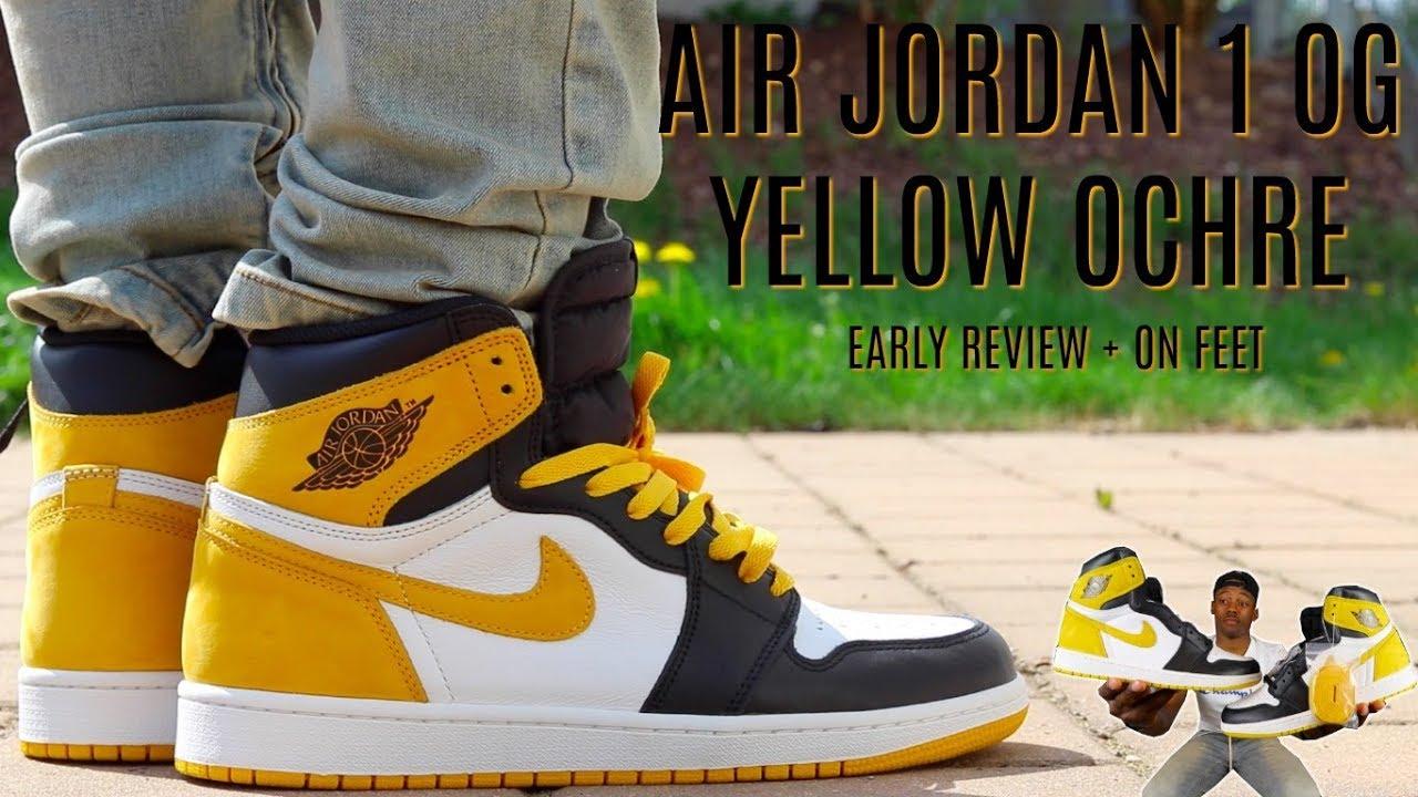b67d6bb4c357 EARLY REVIEW  AIR JORDAN 1 OG YELLOW OCHRE w  ON FEET!!  MUST WATCH ...