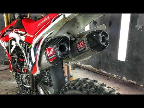 honda crf250r exhaust sound install yoshimura rs9 dual exhaust