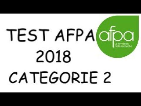 """TEST AFPA 2018  """"Catégorie 2"""""""