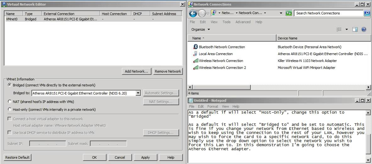 Setting up Bridged network connections in VM Workstation