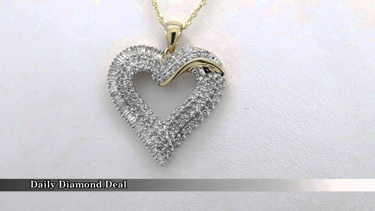 10k yellow gold womens diamond heart pendant necklace youtube 10k yellow gold womens diamond heart pendant necklace aloadofball Images