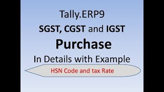 Create  Ledger SGST , CSGT, GST in Tally with Purchase Entry