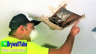 Water damaged ceiling and wall project- Diy drywall repair tips