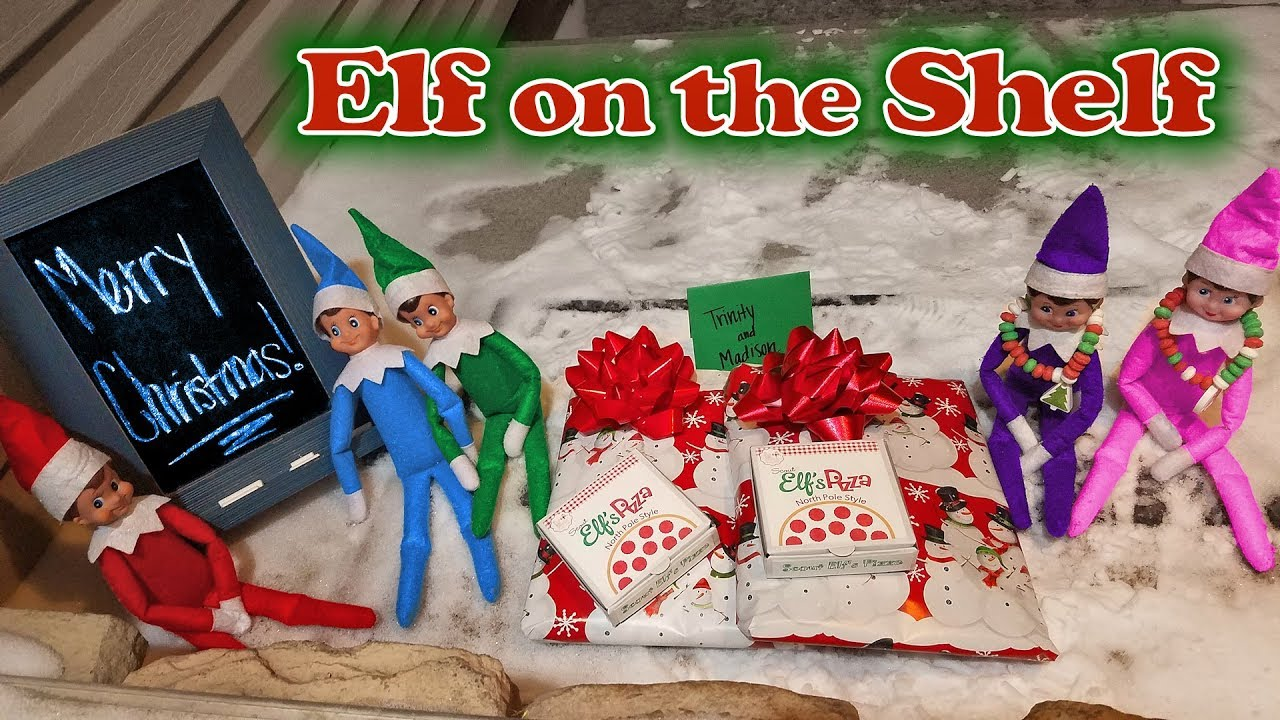purple pink elf on the shelf elf pizza delivery presents elves saying goodbye day 33 - Pizza Delivery On Christmas Day
