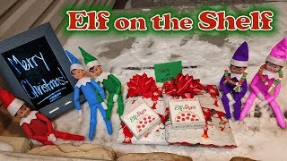 Purple & Pink Elf on the Shelf - Elf Pizza Delivery & Presents! Elves Saying Goodbye! Day 33
