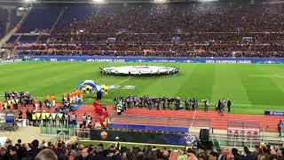 ROMA - SHAKHTAR Inno The Champions urlato da 50.000 persone, ingresso giocatori e cori.