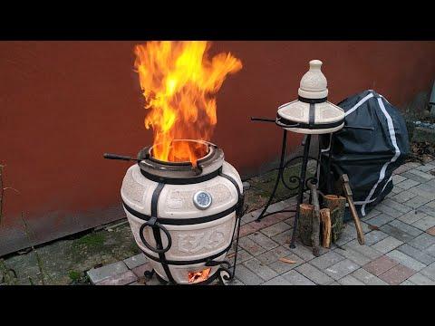 Первый розжиг тандыра и  приготовление шашлыка в тандыре