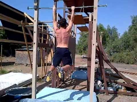 Double salmon ladder to unstable bridge ninja warrior training feb 26
