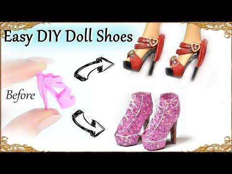 Easy DIY Barbie / Doll Custom Shoes - How to recycle basic doll shoes
