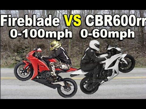 Honda CBR1000rr vs CBR600rr 0-100 mph 0-60 mph Hyperflo vs Two Bros Exhaust