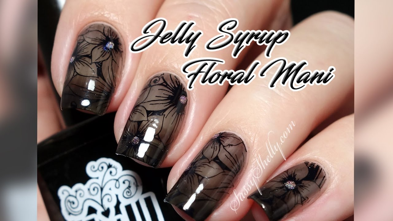 Sheer Black Jelly Syrup Floral Mani | SEXY Gradient French Tip - YouTube