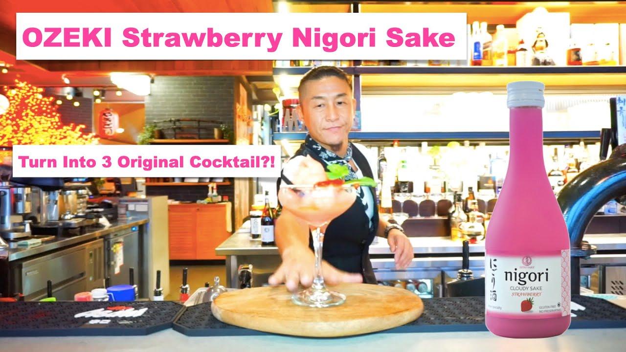 OZEKI Strawberry Nigori Sake turn into Tasty Japanese Cocktail