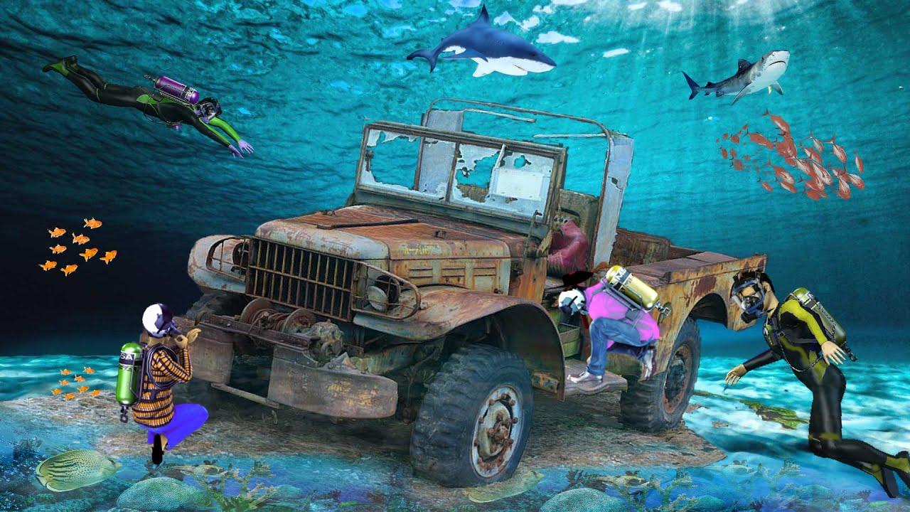पानी के नीचे जीप मरम्मत Underwater Jeep Restoration Hindi Kahaniya Comedy Video हिंदी कहानियां 2021
