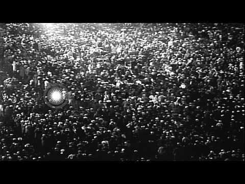 Crowds gathered at the 1936 Democratic National Convention in Philadelphia HD Stock Footage