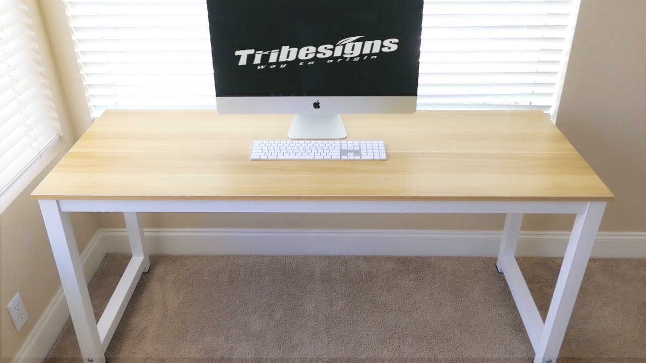 Tribesigns - Modern Desk - Walnut White