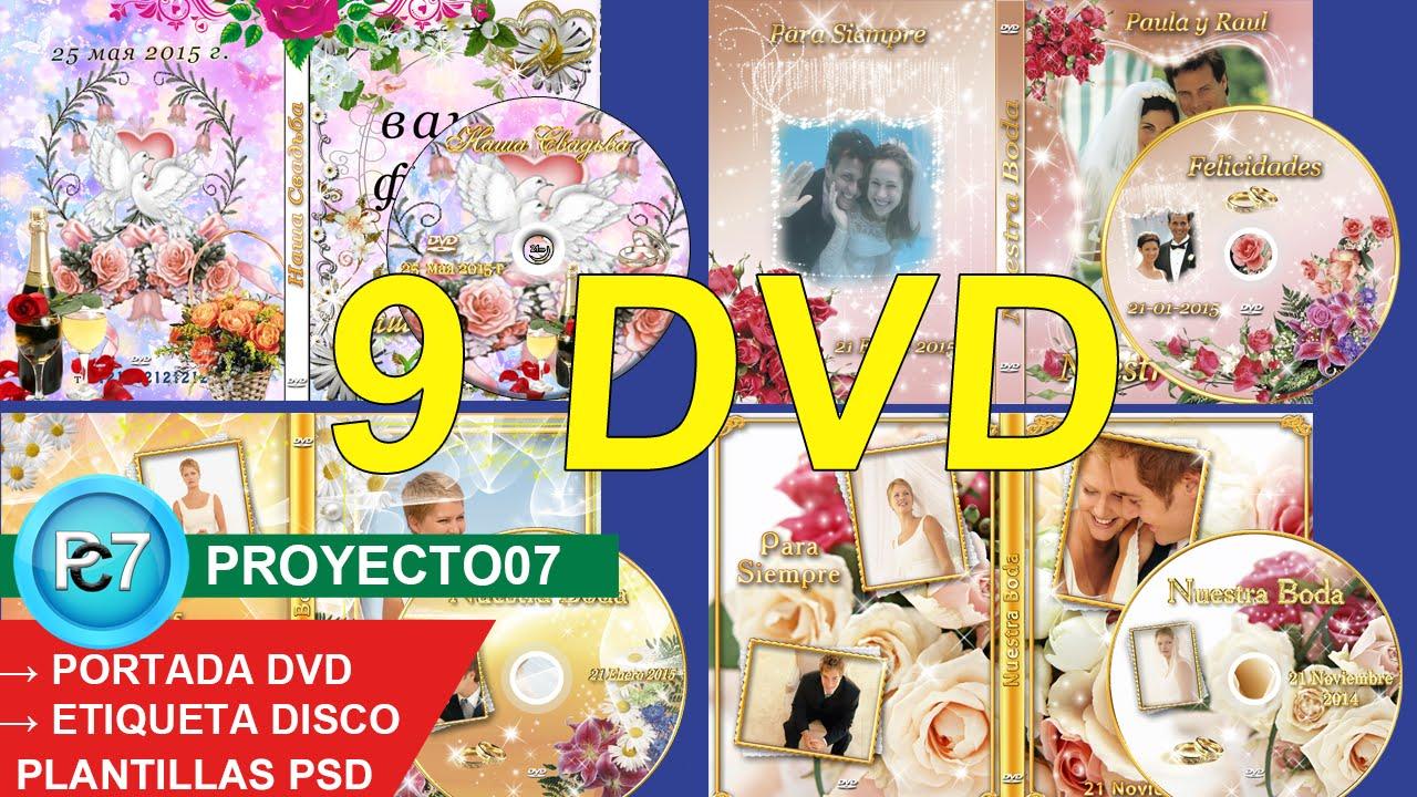 9 Dvd BODAS[PORTADA y ETIQUETA] varios diseños editables por capas ...