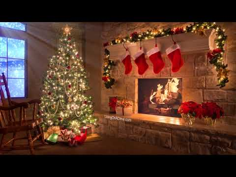 Merry Christmas! Christmas Music Video With Fireplace and Snow Falling!