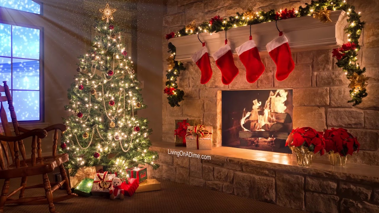 Merry Christmas Christmas Music Video With Fireplace And Snow Falling Youtube