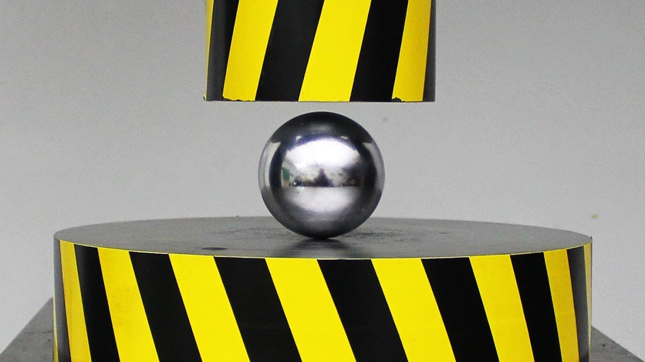 EXPERIMENT HYDRAULIC PRESS 100 TON vs METAL BALL - YouTube