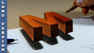 Try to do 3D Trick Art on Paper, floating letter M, Long Version