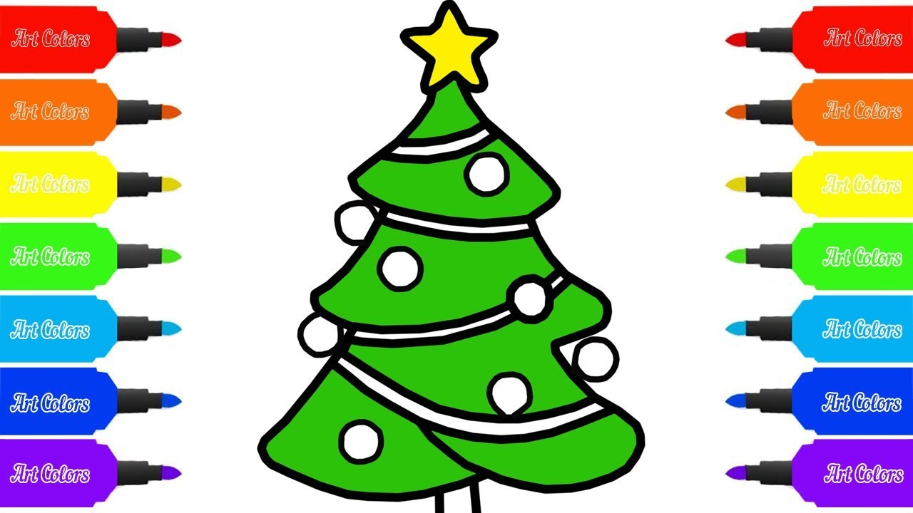 How to Draw a Christmas tree for Kids | Coloring Pages | Art Colors ...