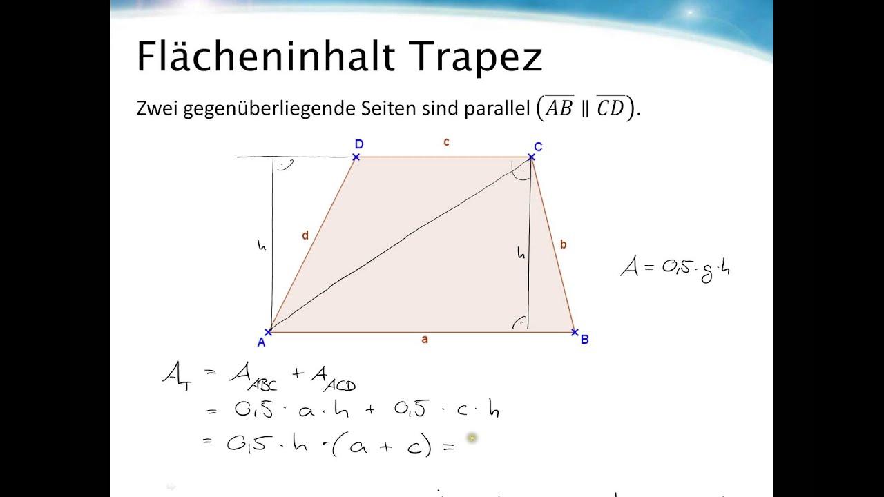 Flächeninhalt Trapez - YouTube