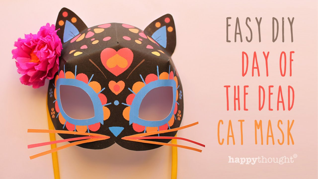 Day of the dead cat mask free diy template youtube for Day of the dead skull mask template