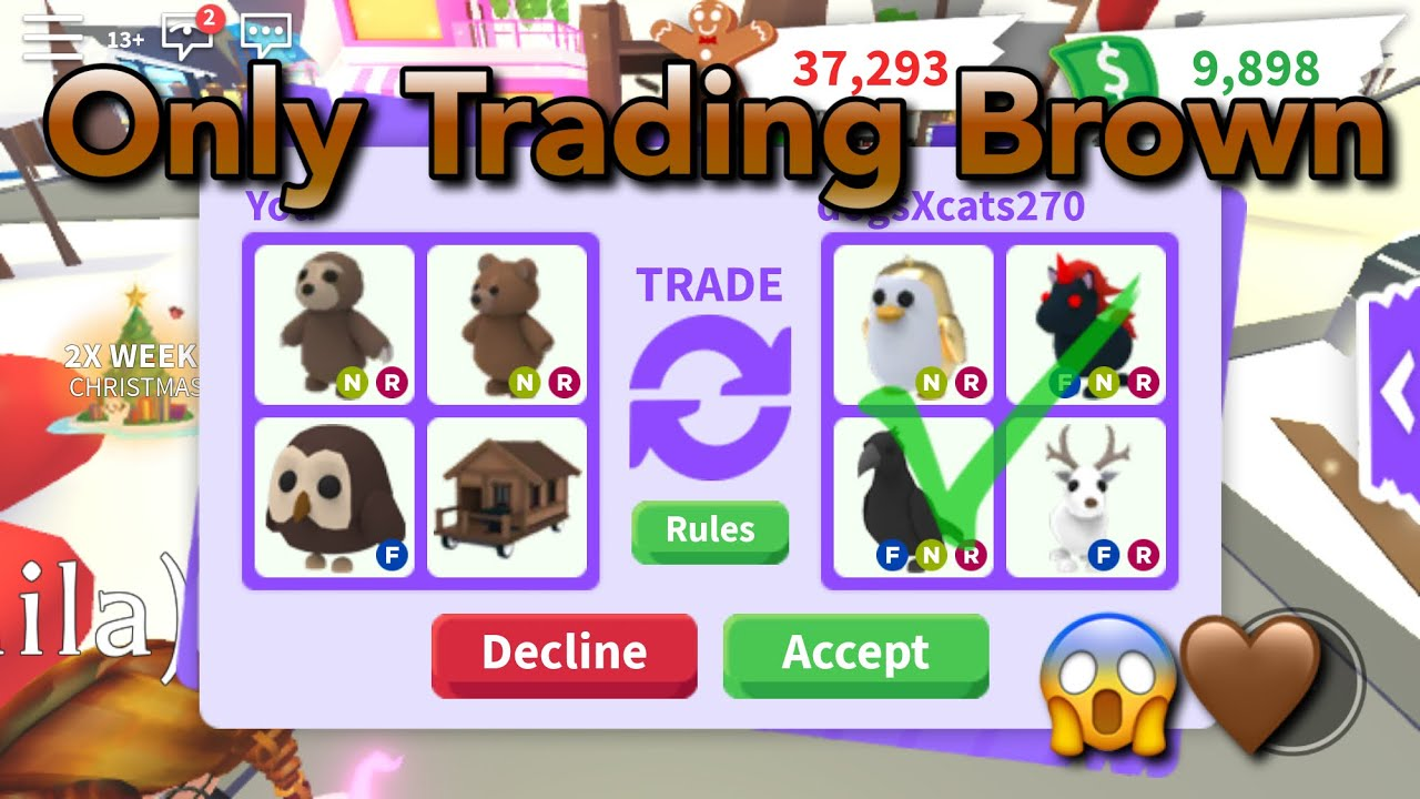 I Traded Only Brown Items And Pets In Roblox Adopt Me! One ...