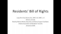 Residents' Bill of Rights, Long-Term Care Homes, Ontario, Canada
