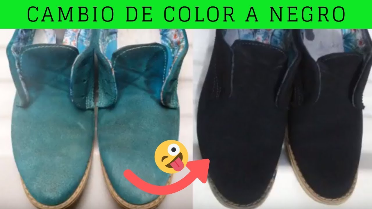 CAMBIO DE COLOR ZAPATOS | Cómo PINTAR zapatos gamuza | A COLOR NEGRO | FUNCIONA!!!