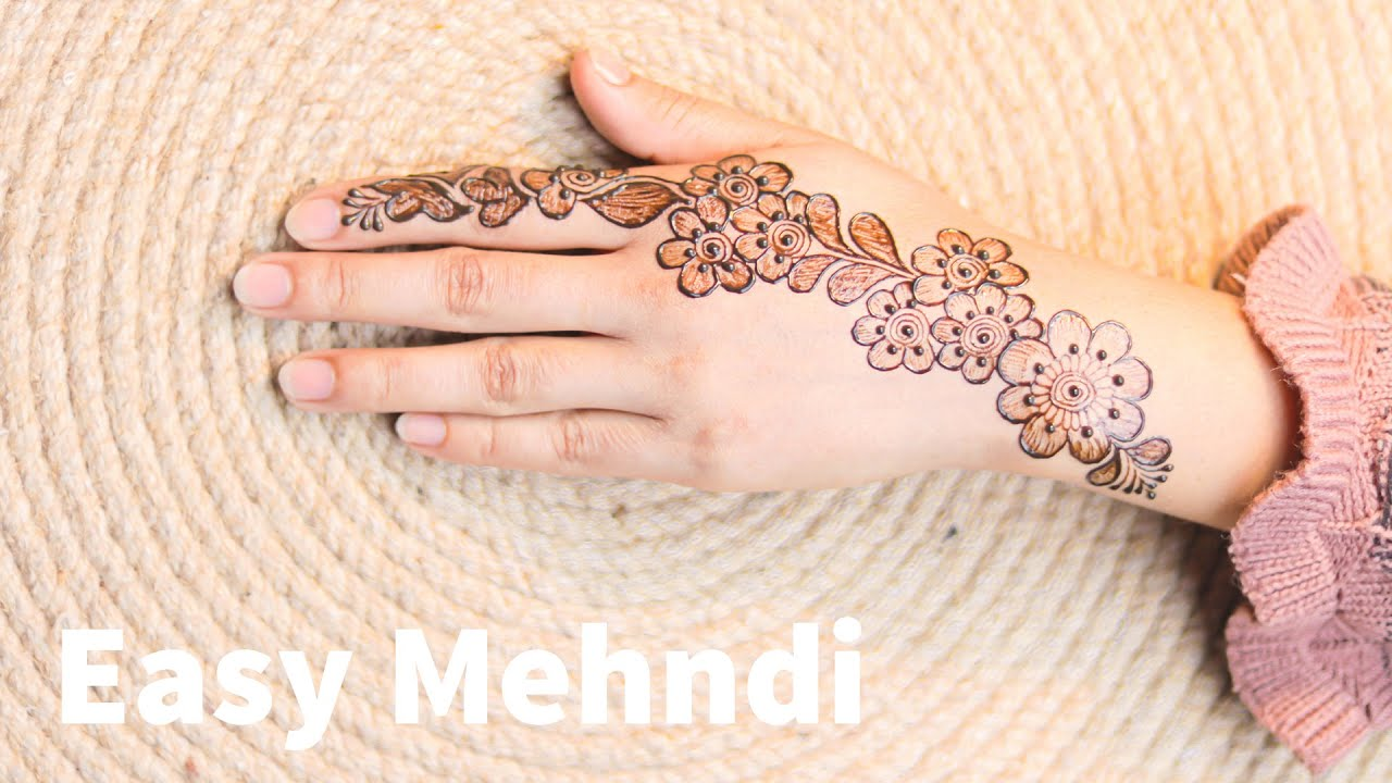 attractive new simple one side mehndi design