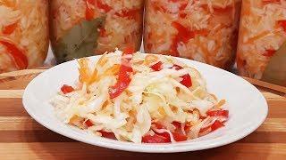 Очень вкусный и простой салат на зиму или консервированная маринованная капуста!