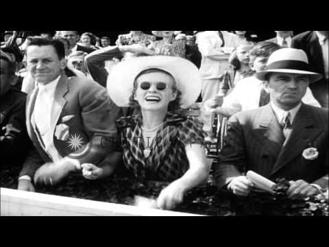 War Admiral, the horse wins the Saratoga Cup Classic in Sartoga Springs, New york...HD Stock Footage