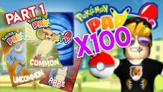 INSANE 100 x PACK OPENING Part 1!! (Roblox Pokemon Party) [Memorial]
