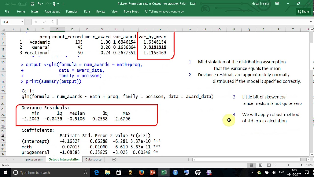 Poisson Regression Example / Workout in R n Detail Interpretation of Output