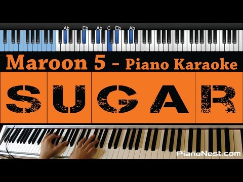 Maroon 5 - Sugar - LOWER Key (Piano Karaoke / Sing Along)