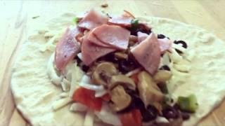 Como hacer un calzon de espinaca, hongos, jamón y vegetales