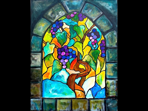 Grape vines stain glass and stone acrylic painting for Can i paint glass with acrylic paint