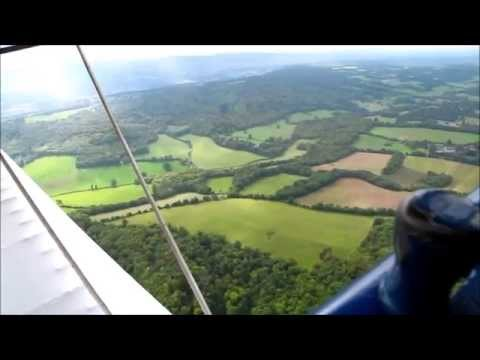 Tiger Moth Biplane Flight from Redhill Aerodrome Over Surrey