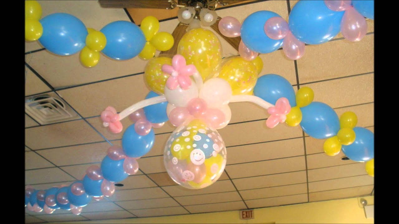 Decoracion con globos youtube for Decoracion de bombas para bautizo