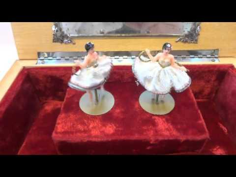 Vintage Reuge double dancing ballerina musical jewelry box