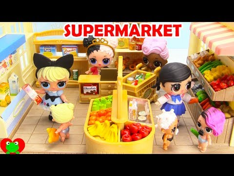 LOL Surprise Doll Goes Shopping and Learns Grocery Store Foods