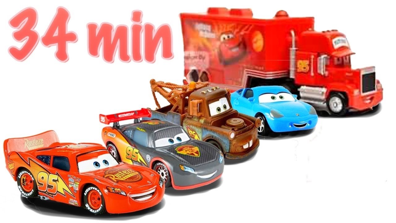 disney cars toys ride along to fun kid songs 3 lightning mcqueens mater mack hauler sally full movie