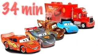 Disney Cars Toys Ride Along to Fun Kid Songs 3 Lightning McQueens Mater Mack Hauler Sally Full Movie